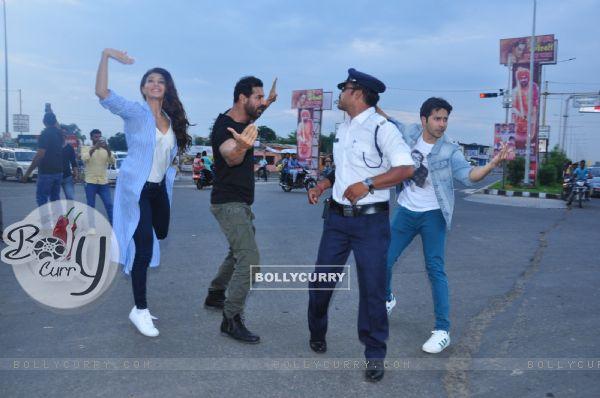 John Abraham, Varun Dhawan and Jacqueline Fernandes promotes Dishoom
