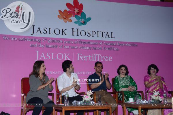 Farah Khan, Tusshar Kapoor and Aamir Khan at Jaslok Fertil Tree Launch Event
