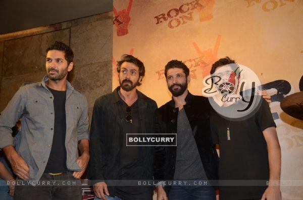 Farhan Akhtar, Arjun Rampal, Purab Kohli and Shashank Arora at Teaser Launch of ROCK ON 2!