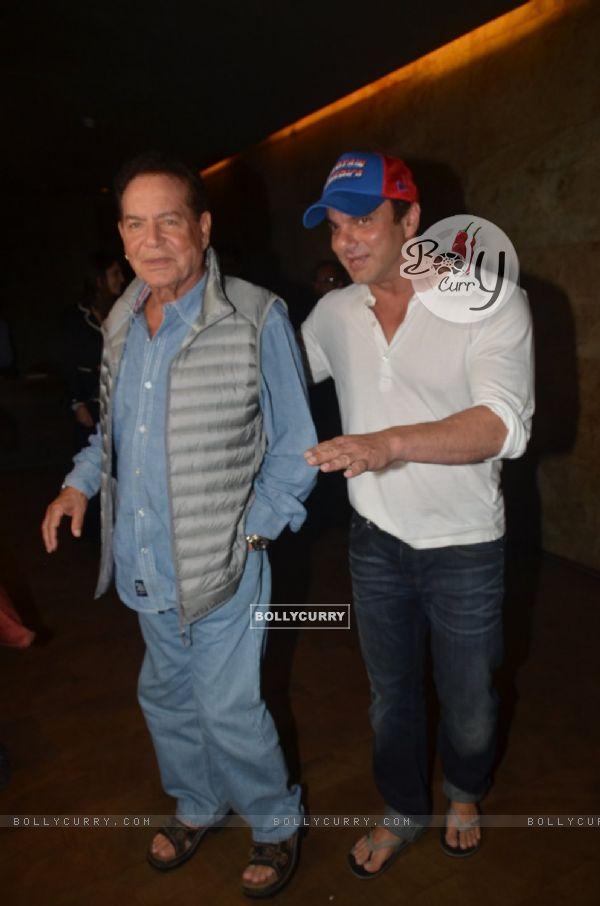 Sohail Khan and Salim Khan at Special Screening of 'Freaky Ali'