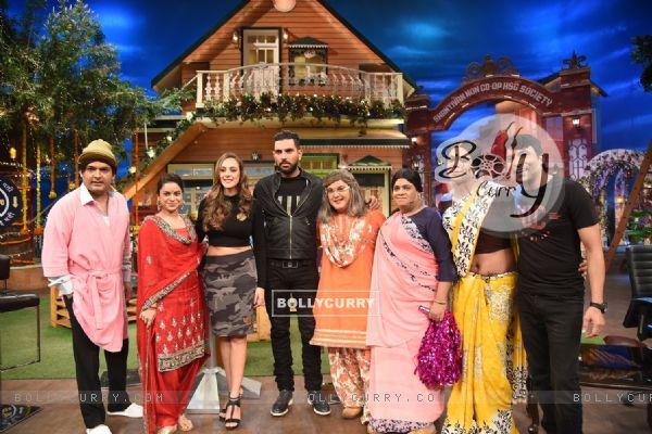 Yuvraj Singh and Hazel Keech visit on sets of 'The Kapil Sharma Show'