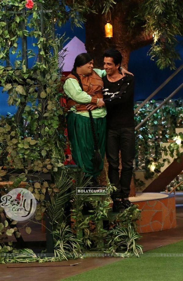 Sonu Sood and Kiku Sharda at Promotion of 'Tutak Tutak Tutiya' on sets of The Kapil Sharma Show