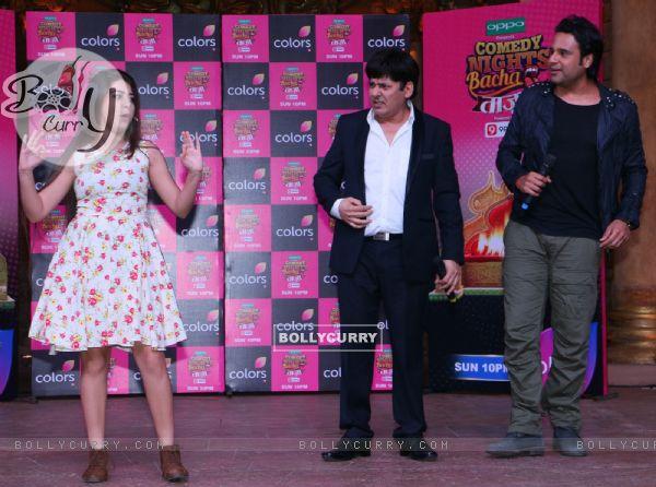 Sudesh Lahiri, Krushna Abhishek and Aditi Bhatia at Press meet of Comedy Nights Bachao