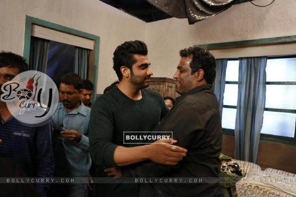 Arjun Kapoor at Ranbir Kapoor's birthday celebration on the sets of Jagaa Jasoos