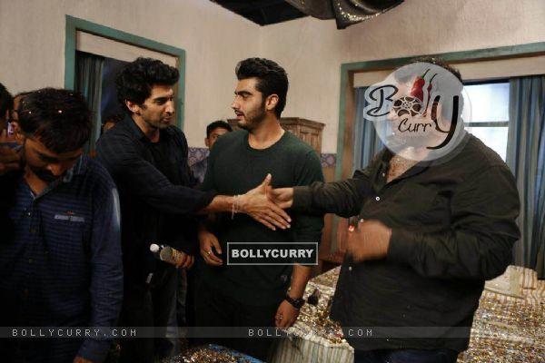 Arjun Kapoor and Aditya Roy Kapur at Ranbir Kapoor's birthday celebration on sets of Jagaa Jasoos