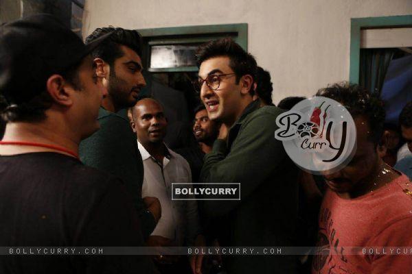Ranbir Kapoor with Arjun Kapoor celebrates his birthday on the sets of Jagaa Jasoos