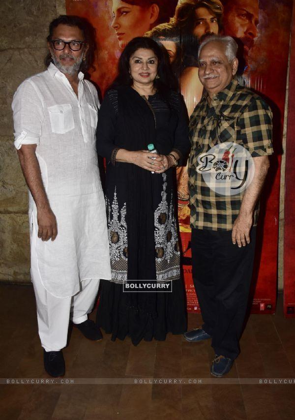 Rakeysh Omprakash Mehra, Ramesh Sippy and Kiran Juneja at Special screening of film 'Mirzya'
