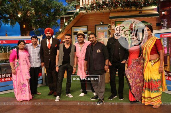 Shankar Ehsaan Loy on the sets of The Kapil Sharma Show