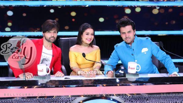 Judges Himesh Reshammiya and Neha Kakkar Javed Ali on Zee TV's 'Sa Re Ga Ma' Lil Champs'