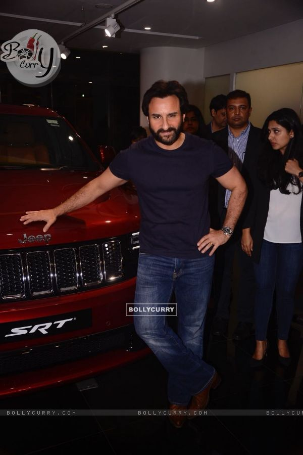 Saif Ali Khan poses with his brand new Jeep