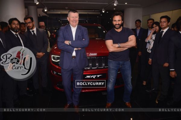 Saif Ali Khan strikes a pose with his Jeep