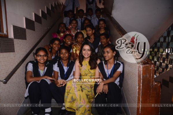 Shraddha Kapoor with the kids from the school