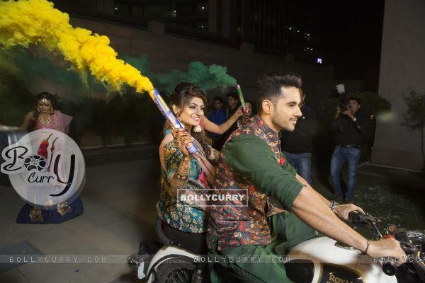 Actor Abhishek Bajaj makes a dashing bike entry during his sangeet ceremony