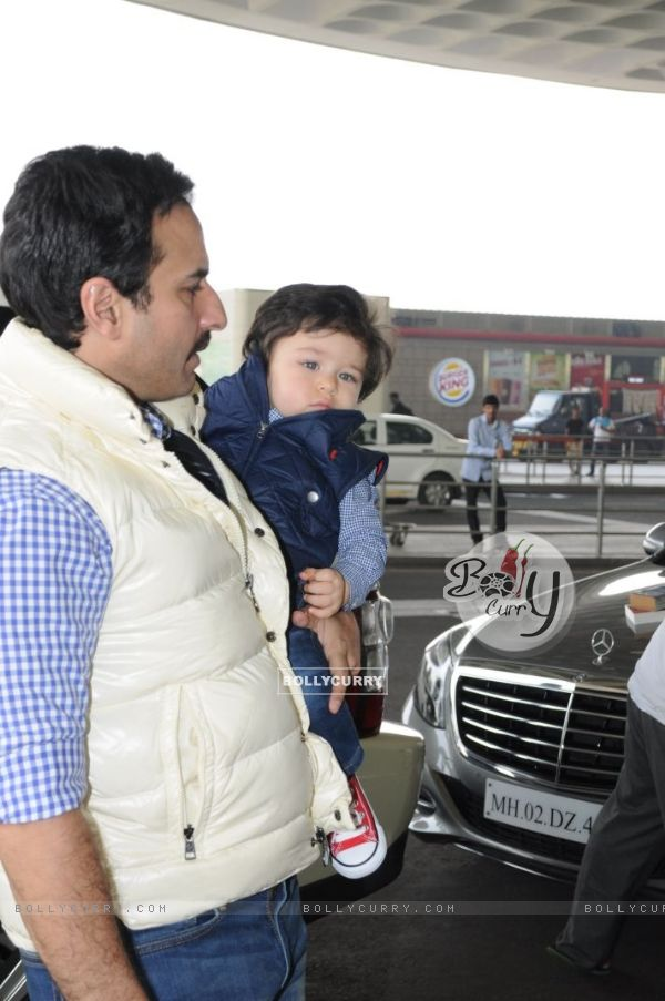 A closeup of Baby Taimur