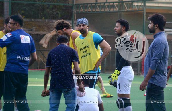 Ranbir, Dino and Jim indulge in a game of Football