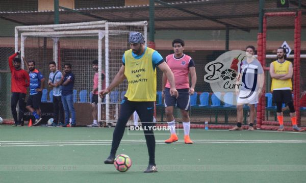 Ranbir, Dino and Jim indulge in a game of Football