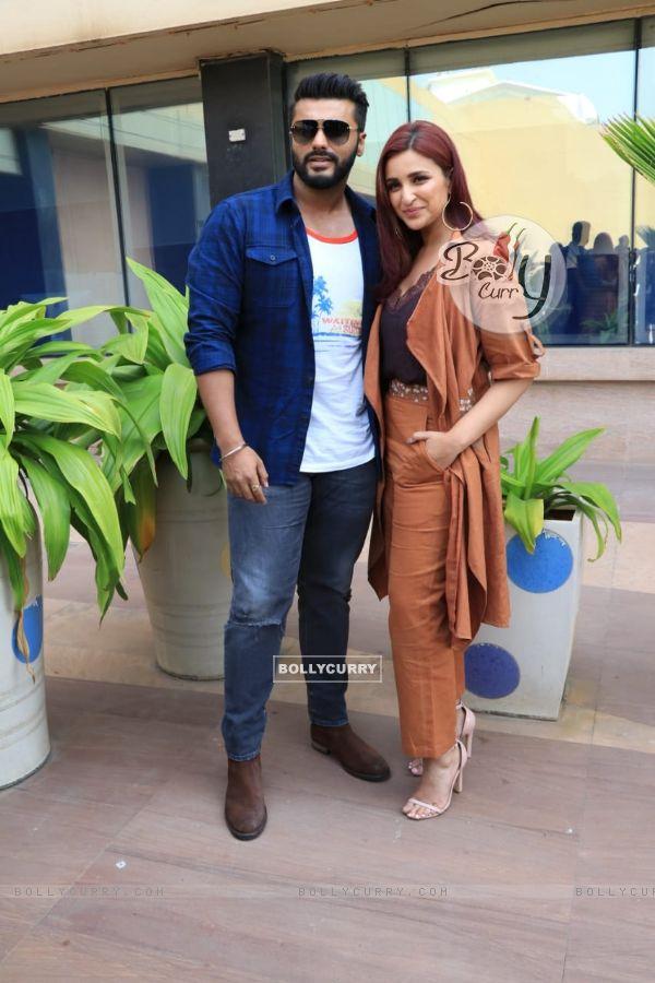 Arjun Kapoor and Parineeti Chopra promoting their movie Namaste England at Novotel, Juhu