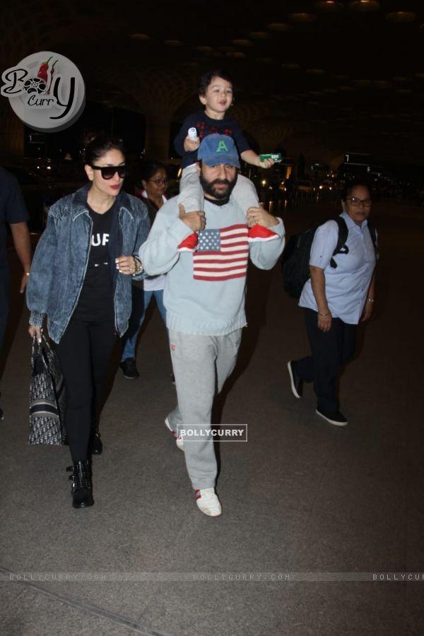 Kareena Kapoor, Saif Ali Khan and Taimur Ali Khan snapped at Mumbai Airport