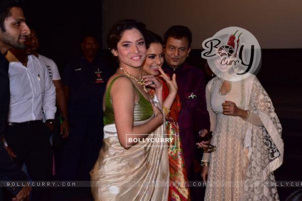 Ankita Lokhande and Kangana Ranaut at Manikarnika trailer launch