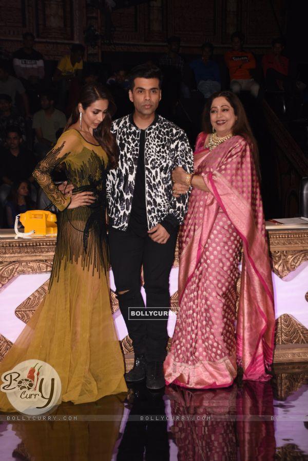Karan Johar, Malaika Arora, and Kirron Kher at India's Got Talent for URI promotions