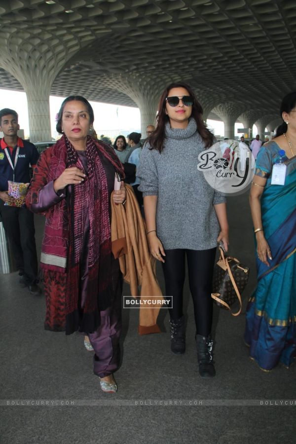 Parineeti Chopra and Shabana Azmi Snapped at the Airport