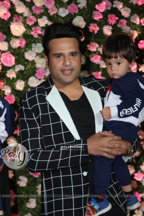 Krushna Abhishek with son at Kapil Sharma and Ginni Chatrath's Reception, Mumbai