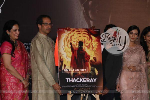 Nawazuddin Siddiqui, Amrita Rao and Uddhav Thackeray at Thackeray movie trailer launch