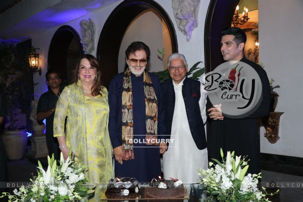 Sanjay Khan with his son Zayed Khan and wife at his 78th Birthday bash