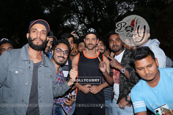 Hrithik Roshan with his fans during his Birthday Bash