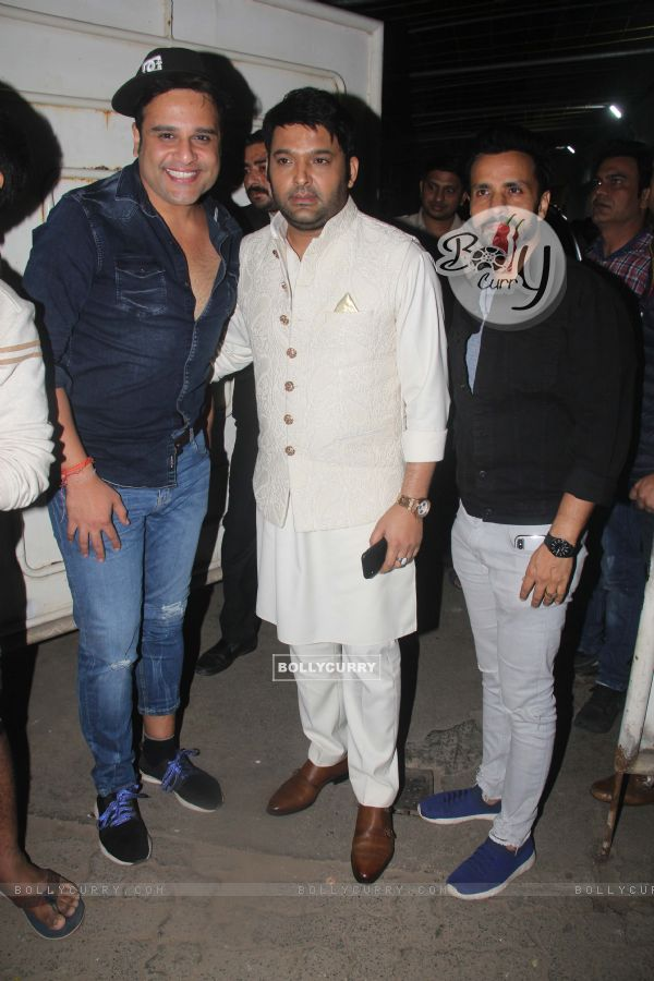 Krushna Abhishek, Kapil Sharma and Rajiv Thakur snapped during the screening of 'URI'