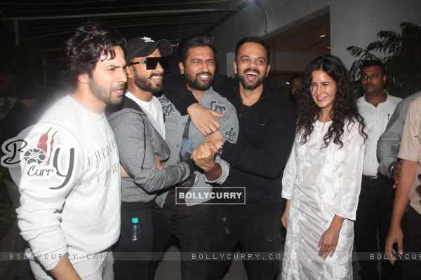 Varun Dhawan, Ranveer Singh, Vicky Kaushal, Rohit Shetty snapped during the screening of 'URI'