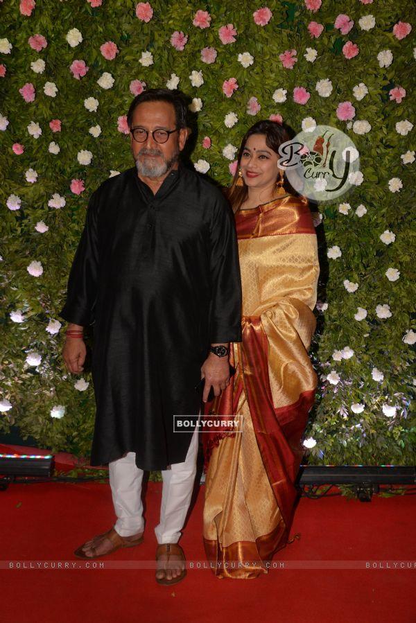 Mahesh Manjrekar and wife at Amit Thackeray's reception