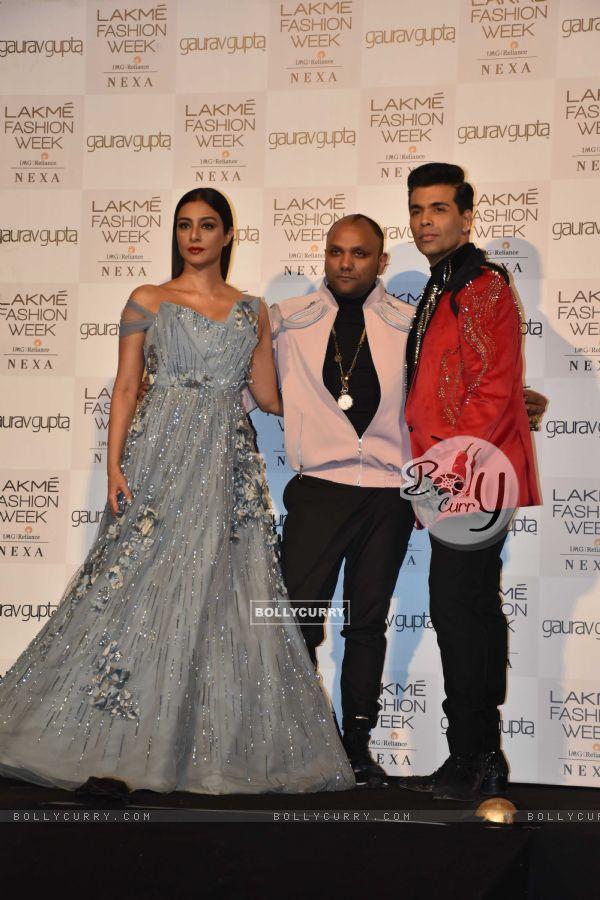 Karan Johar and Tabu at Lakmé Fashion Week Opening Show