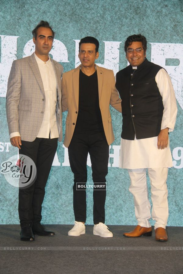 Cast of Sonchiriya at the trailer launch
