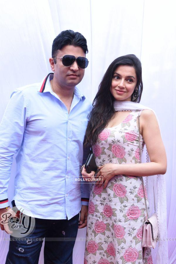 Bhushan Kumar with wife Divya Khosla Kumar at Anurag Basu's Saraswati Pooja