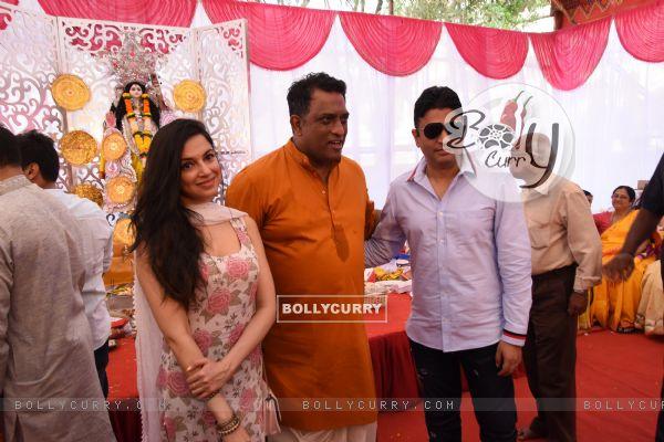 Bhushan Kumar and Divya Khosla Kumar at Anurag Basu's Saraswati Pooja