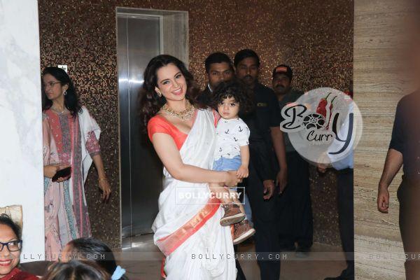 Bollywood actress Kangana Ranaut snapped at Manikarnika Success bash! (445385)