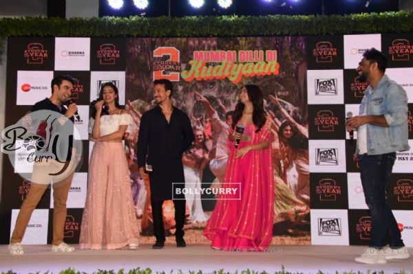 Ananya-Tiger-Tara and Punit on the song launch of SOTY2!