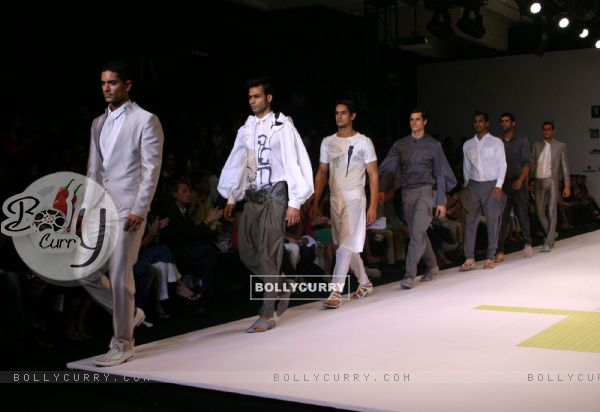 "Models presenting creations of Designer Gaurav Gupta at the Van Heusen ""India Mens Week"" in New Delhi on Sunday"