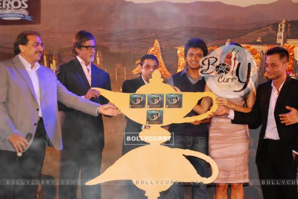 """Bollywood actors Amitabh Bachchan, Riteish Deshmukh and newcomer Jacqueline Fernandez at the music launch of a new film """"Alladin"""" (80549)"""