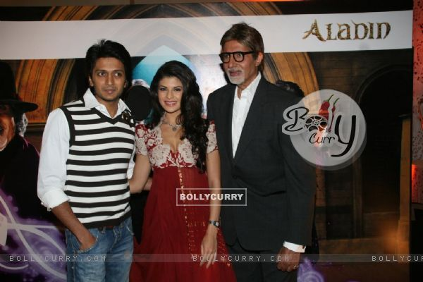 Amitabh Bachchan, Ritesh Deshmukh & Jacqeline Fernandes met the Aladin-Godrej Contest winners at a gala event held in Mumbai (81644)