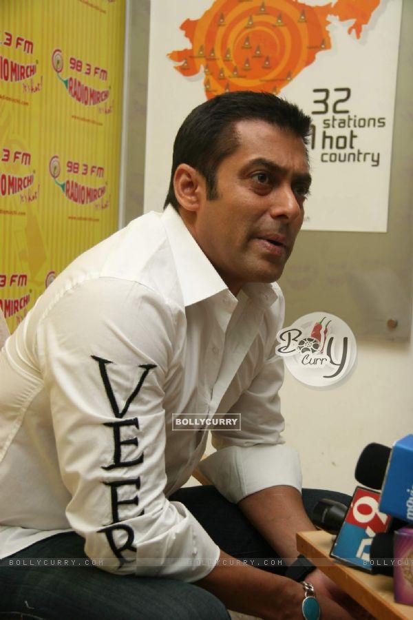 "Bollywood actor Salman Khan at the promotional event of his upcoming film ""Veer"" at Radio Mirchi studio at Parel (84219)"