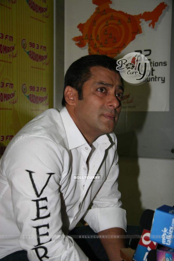 "Bollywood actor Salman Khan at the promotional event of his upcoming film ""Veer"" at Radio Mirchi studio at Parel (84220)"