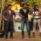 Amit Tandon on the sets of Dadagiri with Vishal Bhonsle and Shaurya Chauhan