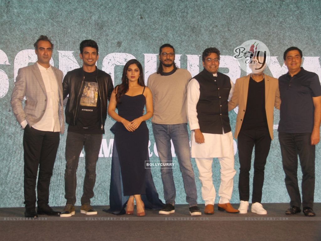 Cast of Sonchiriya at the trailer launch (444366) size:1024x768