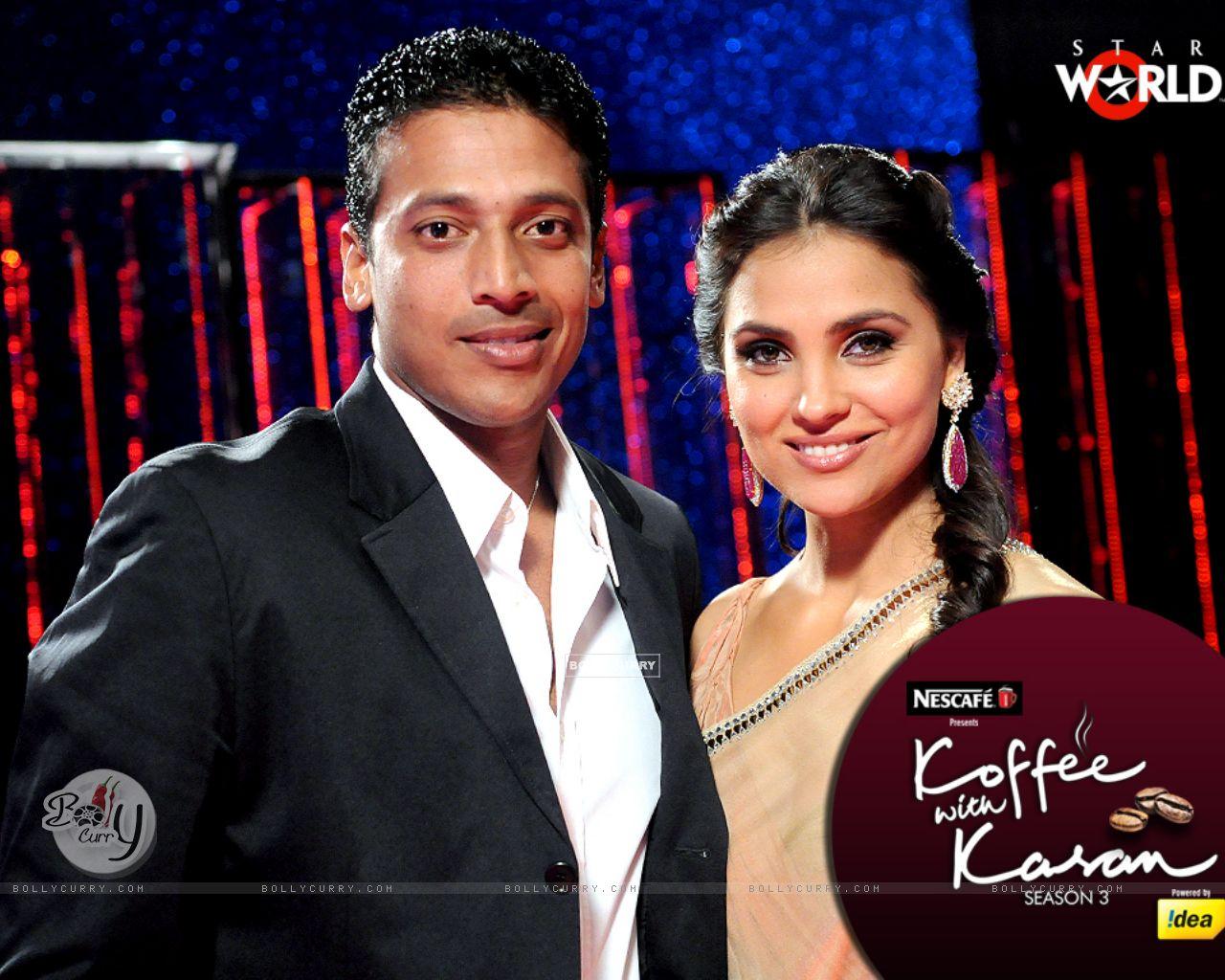 Lara Dutta with Mahesh Bhupati on Koffee with Karan (149345) size:1280x1024