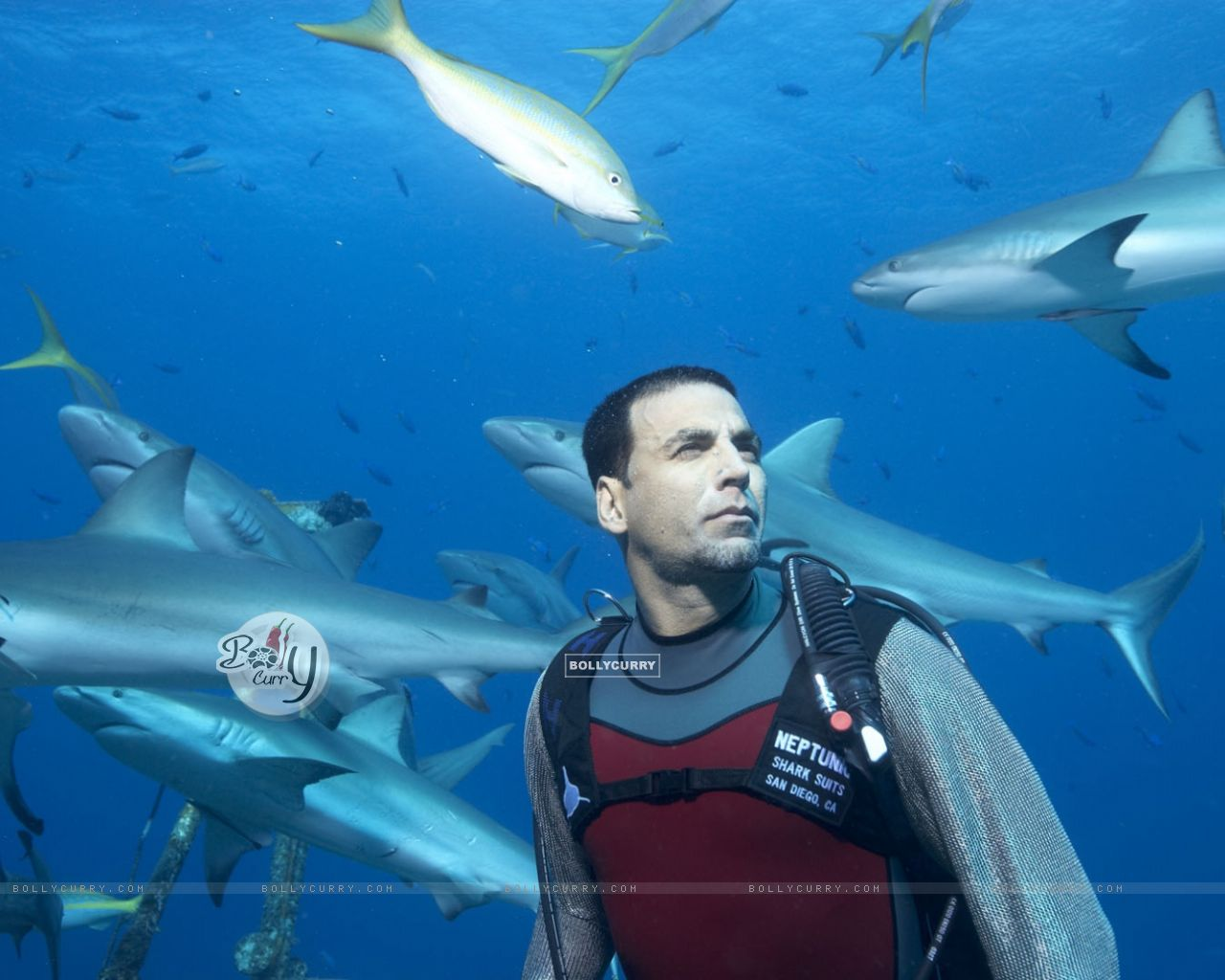 Akshay Kumar surrounded by the fish (37528) size:1280x1024