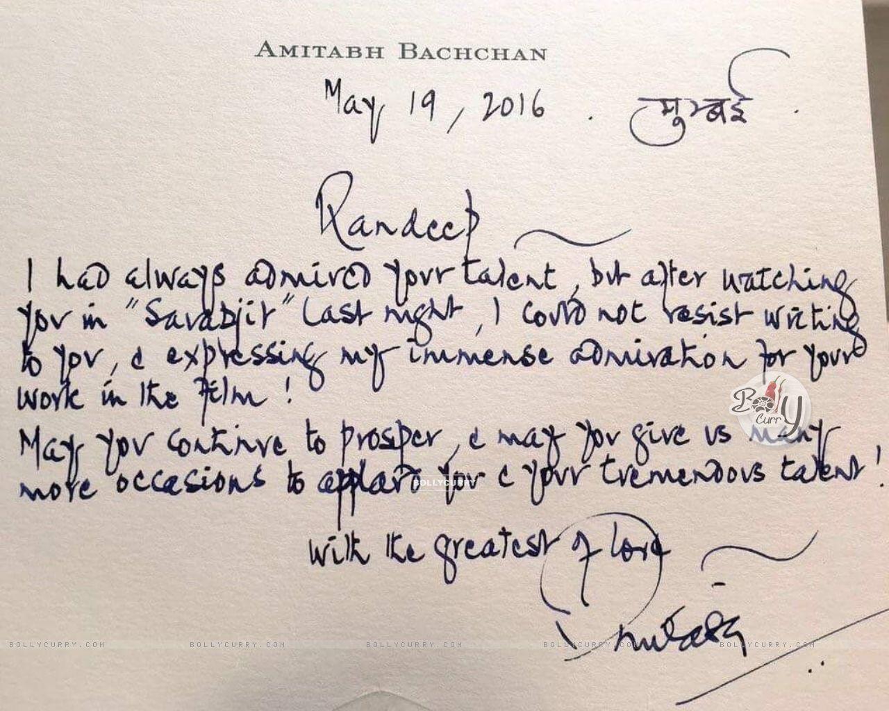 Amitabh Bachchan's letter to Randeep Hooda for Sarabjit's Success! (406642) size:1280x1024