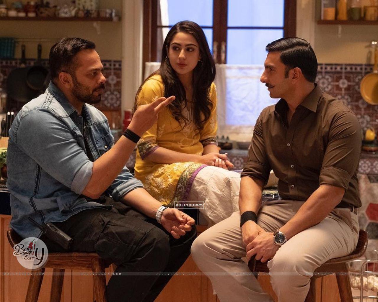 Ranvir Singh, Sara Ali Khan, Rohit Shetty stills from movie Simmba (442752) size:1280x1024