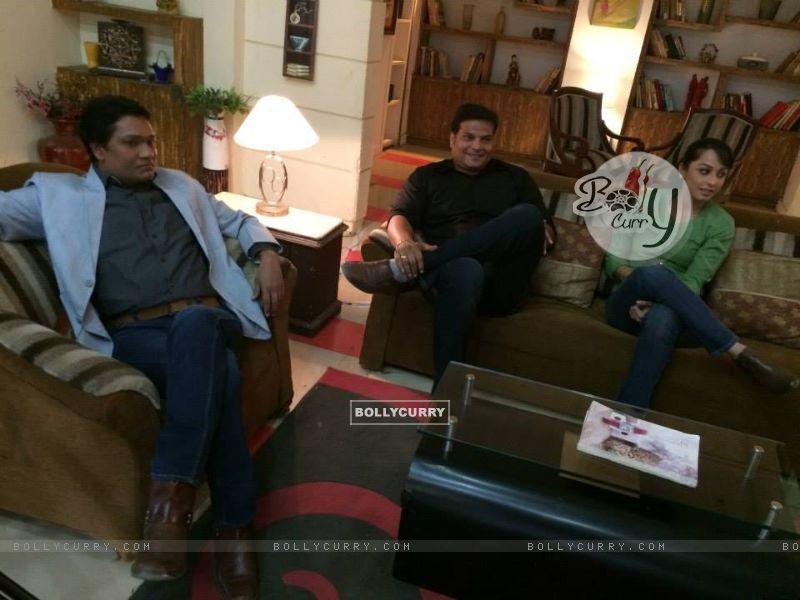 Aditya Srivastava, Dayanand shetty, Ansha Sayed and Shivaji Satam during the shoot of CID+ Adaalat (351063) size:800x600